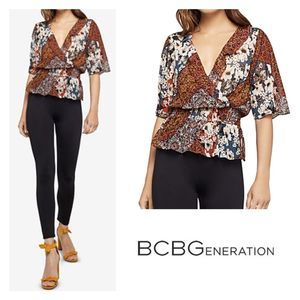 BCBGeneration Ash patchwork print surplice top Sm.